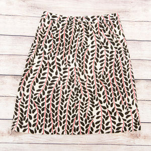 J Crew sz 2 Cotton Leaf Pattern Lined Pencil Skirt